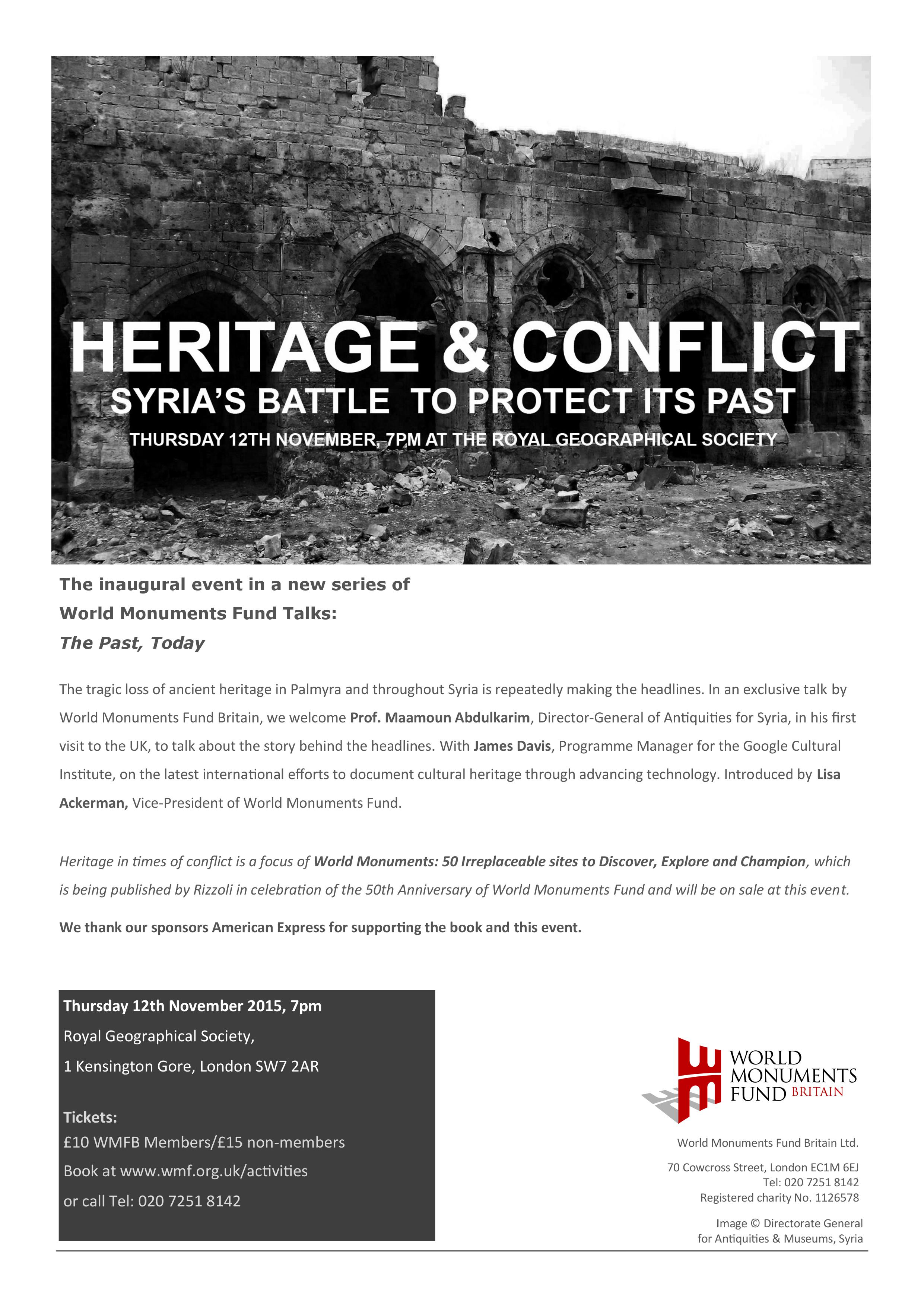 Heritage and Conflict A4 poster