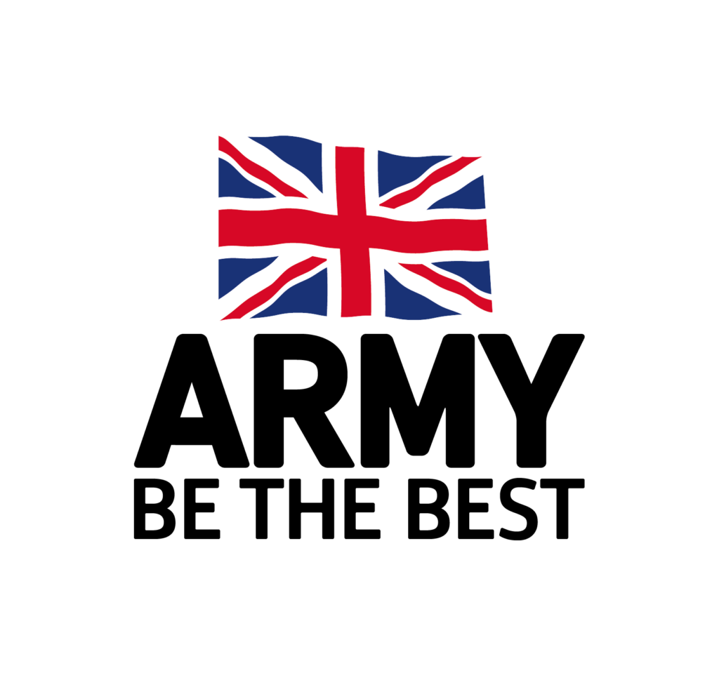 """Text reads """"Army Be the Best"""" with UK flag"""